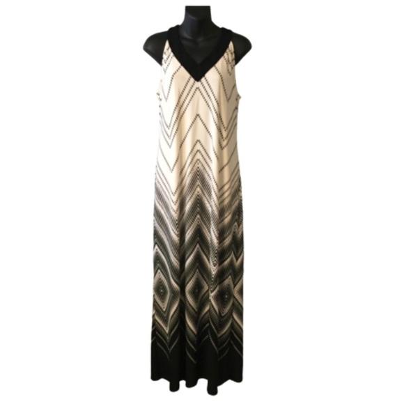 Chico's Dresses & Skirts - Chico's White and Black V-Neck Printed Maxi Dress